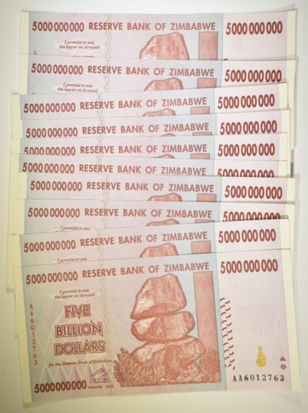 10-CU BANK OF ZIMBABWE 5 BILLION DOLLAR NOTES