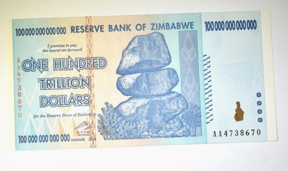 ZIMBABWE 100 TRILLION DOLLAR NOTE CRISP UNC