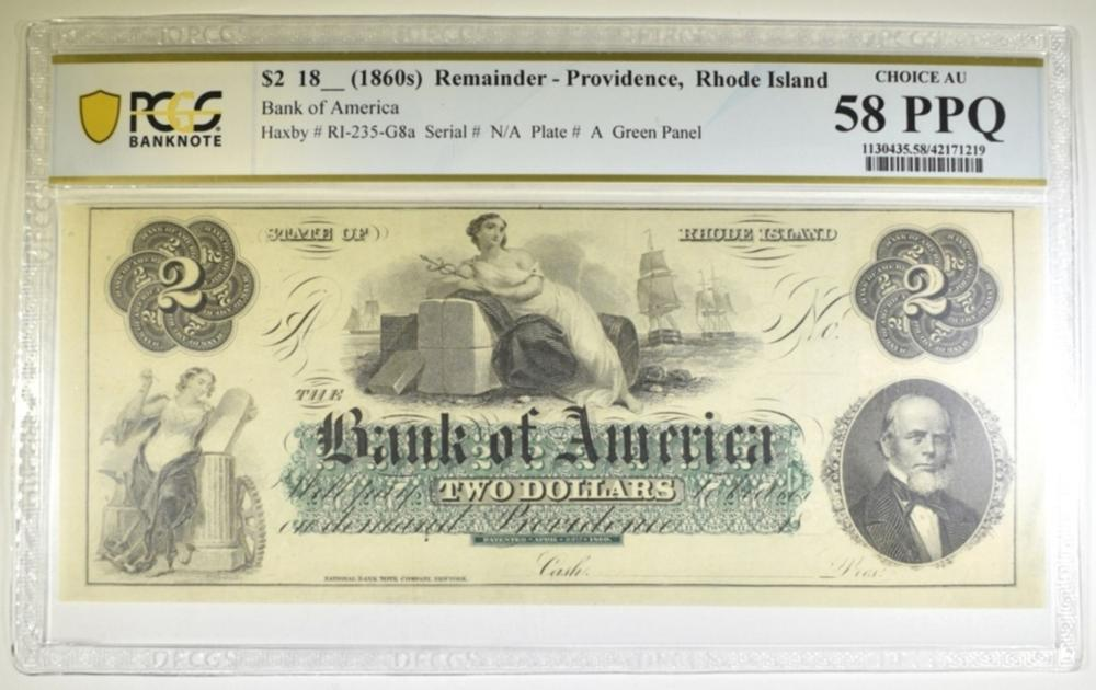 18-- $2 REMAINDER NOTE BANK OF AMERICA PCGS 58 PPQ