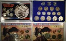 WORLD WAR II SET - 17 COINS; 2-THE PRESIDENTS SETS 5 pc, MERCURY DIME SET 5pc
