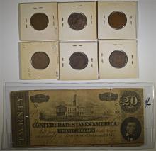 BAG LOT; $20 CONFEDERATE NOTE; 2 CENT LOT; 1865, 1866, 1867, 1868, 1870, 1871