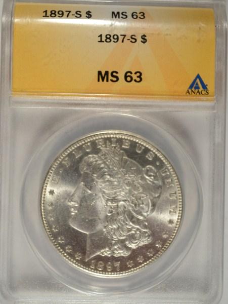 1897 S MORGAN DOLLAR ANACS MS63