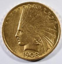 1908 $10.00 GOLD INDIAN NO MOTTO BU