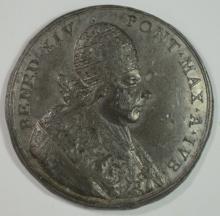 1740-1758 ZINC PAPAL MEDAL POPE BENEDICT XIV