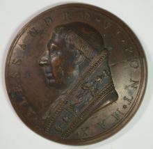 1492-1503 BRONZE PAPAL MEDAL POPE ALEXANDER VI  SCARCE!!