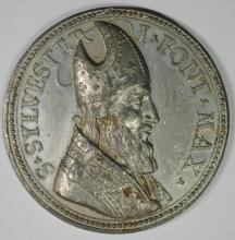 VATICAN MEDAL SAINT SYLVESTER AD 314 RARE TIN MEDAL  LIKELY 19th CENTURY