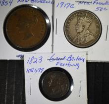 3 - BETTER FOREIGN COINS; 1917C SILVER NEWFOUNDLAND 50c, 1854 NEW BRUNSWICK 1c,