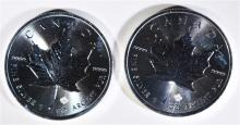( 2 ) 2016 CANADA ONE OUNCE .9999 SILVER MAPLE LEAF COINS