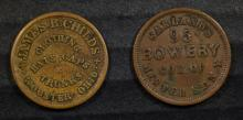 ( 2 ) AUTHENTIC VERY NICE CONDITION CIVIL WAR TOKENS