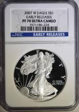 2007-W PROOF AMERICAN SILVER EAGLE, NGC PF-70 ULTRA CAMEO EARLY RELEASES