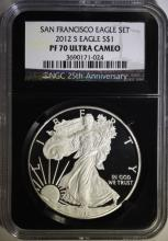 2012-S PROOF AMERICAN SILVER EAGLE, NGC PF-70 ULTRA CAMEO