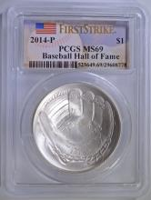 2014-P BASEBALL HALL OF FAME SILVER DOLLAR, PCGS  MS-69 FIRST STRIKE