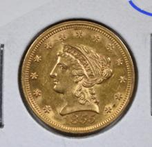 1855 $2.5 GOLD LIBERTY CH BU