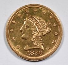 1880 $2.5 GOLD LIBERTY CH BU PL