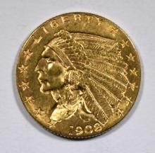 1908 $2.5 INDIAN HEAD GOLD COIN CH BU+