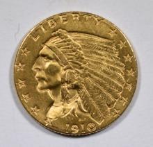 1910 $2.5 INDIAN HEAD GOLD COIN CH BU+