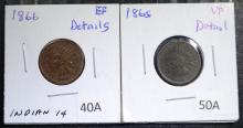 1865 VF & 1866 VF/XF - INDIAN HEAD CENTS