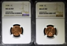 (2) 1938 LINCOLN CENTS: 1- NGC MS-65  RED & 1-MS-66 RED