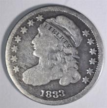 1833 CAPPED BUST DIME, VG/FINE
