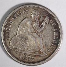 1877-CC SEATED DIME, XF KEY DATE