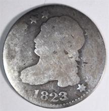 1823/2 BUST DIME, AG KEY DATE