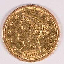 1852-O $2.5 GOLD LIBERTY AU+