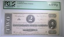 1864 $2 CONFEDERATE STATES OF AMERICA PCGS 63PPQ w/2 LARGE OVERSIZE MARGINS