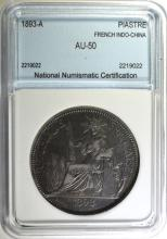 1893-A SILVER PIASTRE FRENCH INDO-CHINA NNC AU  BETTER DATE