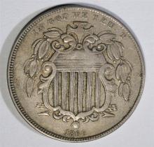 1866 WITH RAYS SHIELD NICKEL, ORIGINAL XF