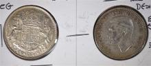 2 COIN LOT: RARE 1952 CANADA 50 CENTS REG & DESIGN IN EAR.