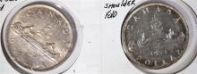 2 COINS- 1953 CANADA ONE DOLLAR SHOULDER FOLD & RARE ONE DOLLAR NO SHOULDER FOLD