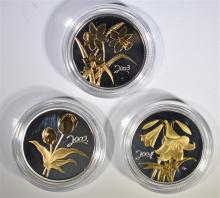 3 - STERLING SILVER CANADIAN 50c FLOWER TRIBUTE COINS; 2002 GOLDEN TULIP, 2003