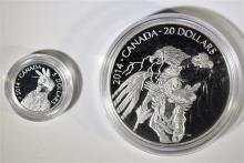 2014 CANADIAN LEGEND of NANABOOZHOO 2 COIN SET > 1 - $20 SILVER, 1 - $5 PLATINUM