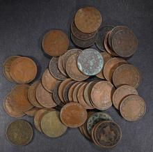 ( 50 ) MIXED AVERAGE CIRC CANADIAN LARGE CENTS