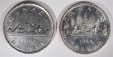 2 CANADA SILVER DOLLARS: 1965 SMALL BEADS BLUNT 5 GEM BU & 1936 KEY DATE CIRC