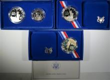 3-1986 STATUE OF LIBERTY PROOF COMMEMORATIVE SILVER DOLLARS IN ORIG PACKAGING