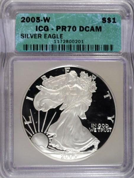 2005W proof silver Eagle ICG PR70DCAM est $60-$70