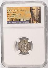 SILVER DENIER ITALY, LUCCA, HENRY III-V  A.D.  1035-1125  NGC GENUINE