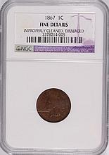 1867 INDIAN HEAD CENT NGC FINE DETAILS