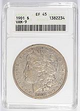 1901 MORGAN SILVER DOLLAR, ANACS EF/AU-45  NICE!
