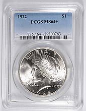 1922 PEACE SILVER DOLLAR, PCGS MS-64+ BLAST WHITE!!  VERY NICE