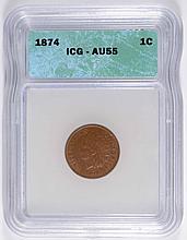 1874 INDIAN HEAD CENT, ICG AU-55 NICE!
