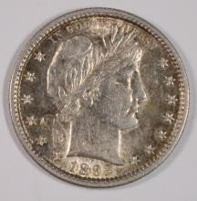 1892 BARBER QUARTER, AU/UNC