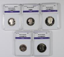 5 PERFECT GEM PROOF DEEP CAMEO GRADED COINS: 1977-S WASHINGTON QUARTER,