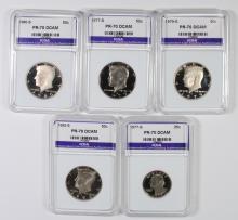 5 PERFECT GEM PROOF DEEP CAMEO GRADED COINS: 1977-S WASHINGTON QUARTER &