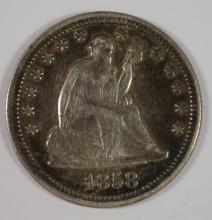 1858 SEATED LIBERTY QUARTER  ORIGINAL AU