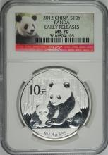 2012 CHINESE SILVER PANDA, NGC MS-70  EARLY RELEASES