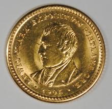 1905 LEWIS & CLARK $1 GOLD COMMEM. BU SCRATCH