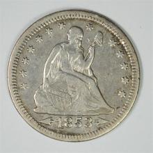 1853 ARROWS AND RAYS SEATED QUARTER, XF