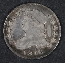 1818 BUST QUARTER, VF/XF NICE
